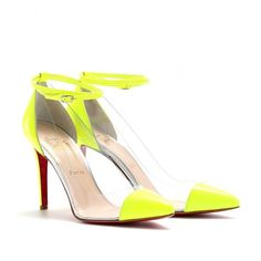 Christian Louboutin Un Bout 100 Patent Detailed Transparent Pumps ($795) ❤ liked on Polyvore