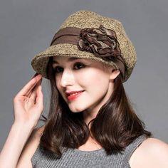 Flower beret hat stylish elegant winter trilby hats for women