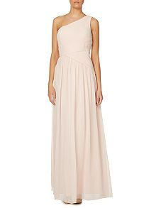 One shoulder rouched chiffon dress