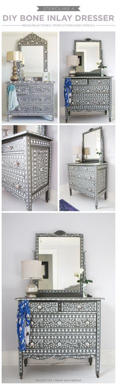 Cutting Edge Stencils shares aDIY stenciled dresser using the Indian Inlay Stencil kit. http://www.cuttingedgestencils.com/indian-inlay-stencil-furniture.html  #stencils #dresser