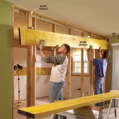 Removing a load-bearing wall to make two rooms into one.