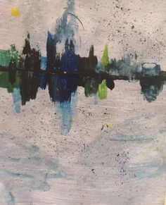 Acrylic Abstract City Scape reflective by KellyKirstieArtworks