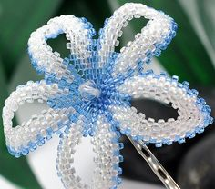 Lakeshore - dodger blue and white - handmade beaded tropical hair flower | Flickr - Photo Sharing!