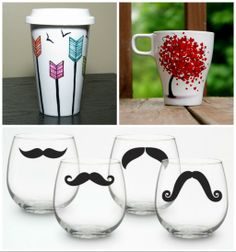 Look how original you may decorate your glass and cup! To end up with similar resultats, you can use Pébéo Porcelaine 150 combined with creativity ! Pebeo Porcelaine 150, Colored Glass, Restoration, Creations, Diy Crafts, Moustaches, Canning, Mugs, The Originals