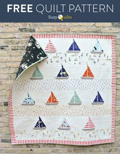 Ahoy Sailor Quilt Pattern This free sailboat quilt pattern is also available as a pre-made kit!This free sailboat quilt pattern is also available as a pre-made kit! Sailboat Baby Quilt, Nautical Baby Quilt, Beach Quilt, Nautical Throws, Baby Boy Quilt Patterns, Baby Boy Quilts, Quilt Block Patterns, Quilt Blocks, Hexagon Quilt