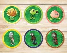 Printable Plants vs Zombies Cupcake Toppers por ApothecaryTables