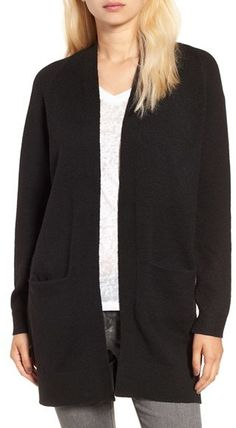 Women's BP Open Front Cardigan $49 At Nordstrom A cozy knit cardigan with a pair of roomy, low-slung pockets Black, Grey https://api.shopstyle.com/action/apiVisitRetailer?id=542211265&pid=uid841-37799971-81
