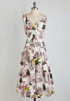 Still Life in Motion Dress in Piazza - Multi, Novelty Print, Print, Daytime Party, Pinup, 50s, 60s, Travel, A-line, Sleeveless, Woven, Better, Long, Cotton, Variation, Work