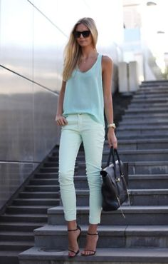 Pastel blues and greens (love the mint jeans!!) and black accessories.