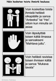 Kuinka toisia ihmisiä on soveliasta koskettaa koulussa eri tilanteissa. Les Sentiments, Behavior Management, Social Skills, Pre School, Speech Therapy, Special Education, Psychology, Kindergarten, Classroom