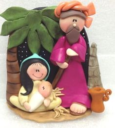 Nacimiento.  250318 Christmas Clay, Xmas, Christmas Ornaments, Polymer Clay Crafts, Biscuit, Miniature, Holidays, Holiday Decor, Christmas Art