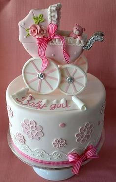 Baby Girl Carriage Baby Shower Cake by Dittekarina Gorgeous Cakes, Pretty Cakes, Cute Cakes, Amazing Cakes, It's Amazing, Baby Cakes, Cupcake Cakes, Torta Baby Shower, Occasion Cakes