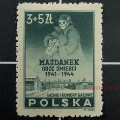 POLISH MAJDANEK stamp-German Nazi SS w/Zyclon-B, 1941-44. This rare stamp was only in circulation for a very short time, due to it being deemed, too offensive.