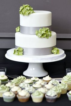 Couture Wedding Cake  Green | Grey | White | Black Wedding  Steamwhistle Brewery, Toronto  For all the details, check out http://www.weddinggirl.ca/blog/2013/04/30/james-kyla-04-27-13-steamwhistle-brewery-wedding-toronto/