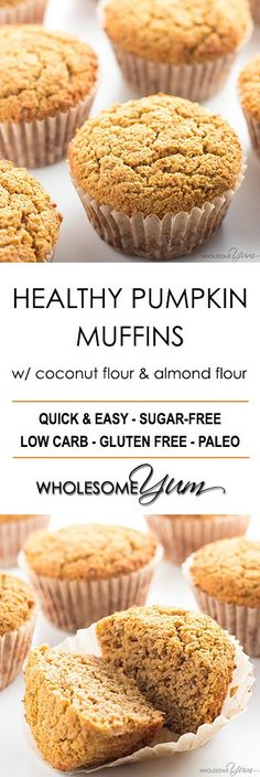 Healthy Pumpkin Muffins Recipe with Coconut Flour & Almond Flour - This easy, healthy pumpkin muffins recipe is made with coconut flour and almond flour (or flaxseed meal for nut-free). Low carb, gluten-free, and paleo!