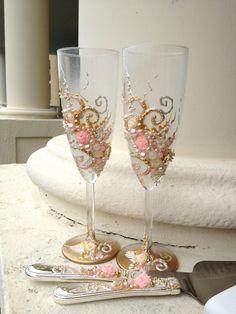 Wedding cake server set in Blush pink gold and por PureBeautyArt