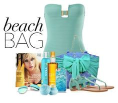 Beach bag by barbarapoole on Polyvore featuring polyvore fashion style Prism Avenue Mud Pie Kate Spade Ray-Ban Eos Clarins COOLA Suncare women's clothing women's fashion women female woman misses juniors