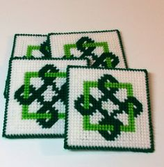 Emerald Green and White Celtic Pattern Coasters - Set of 4