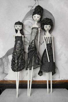Clay  Art Doll / 3D Mixed Media HANGING DOLL - Gianna. $170.00, via Etsy.