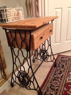 table and drawer from a treadle base sewing machine