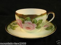 PT Tirschenreuth Bavaria Hand Painted Gold Trimmed Rose Motif Tea Cup and Saucer
