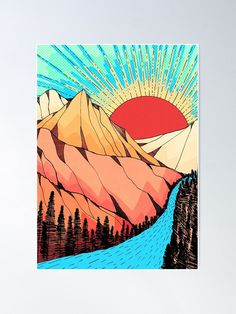 'Mountains and the river' Poster by steveswade Cute Canvas Paintings, Small Canvas Art, Diy Canvas Art, Fabric Canvas Art, Hippie Painting, Trippy Painting, Painting Art, Sharpie Drawings, Marker Drawings