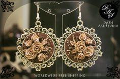 orecchini cammeo fimo rose bronzo