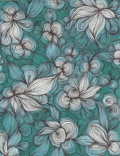 Turquoise Watercolor Pattern PRINT. $12.00, via Etsy.