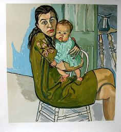 Nancy and Olivia by Alice Neel (1900-1984), American - well known for oil painting and for her portraits depicting friends, family, lovers, poets, artists and strangers. Her paintings are notable for their expressionistic use of line and color, psychological acumen, and emotional intensity (wiki - printededitions)