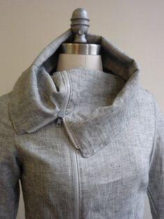 On Sale Amazing Asymmetrical Denim Jacket for Spring, Asymmetric, Jackets, Maternity, Maternity Jacket, High Collar Jacket, Cowl Neck Jacket on Etsy, $120.00