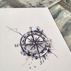 Nautical Compass Tattoo Design |