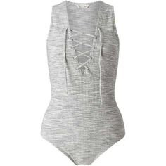 Grey Rib Lattice Body ($80) ❤ liked on Polyvore featuring bodysuits, tops, shirts, leotards, playsuits and miss selfridge