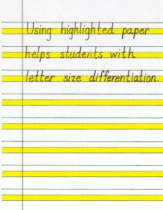 Using highlighted paper and other strategies to improve handwriting. Free printable.