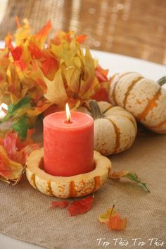 Fall Decor: Carve out the inside of the pumpkin and use it as a candle holder