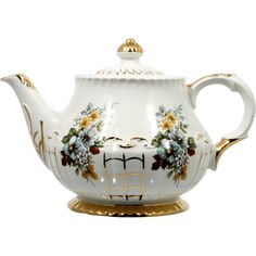 Vintage English Teapot Ellgreave China Flower Bouquet and Gold Lattice from catisfaction on Ruby Lane