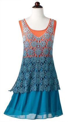 2bf0635953da A Midsummer Night s Dream - Tangerine and Blue Tunic Dress