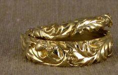 hand-carved oak leaf bands, 18K gold
