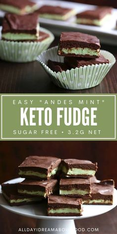 Love the minty chocolate taste of Andes Mints? This healthy low carb fudge recipe has all the same great flavours and none of the sugar! Rich and creamy, and so easy to make. Low Carb Deserts, Low Carb Sweets, Low Carb Candy, Keto Candy, Keto Dessert Easy, Healthy Dessert Recipes, Keto Desserts, Healthy Sweets, Ketogenic Recipes