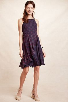 Anthropologie EU Taryn Ruffled Clipdot Dress, Blue