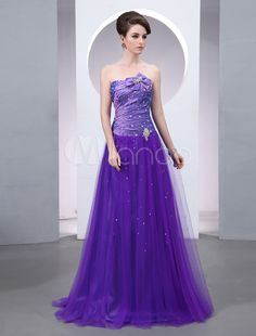 Sexy Lilac Strapless Bow A-line Women's Evening Dress