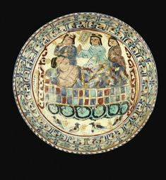 A mina'i bowl with a figure in bed and attendants, Persia, late Ancient Persian, Ancient Art, Islamic World, Islamic Art, Iran, Minions, Art Nouveau, Historical Art, Orient