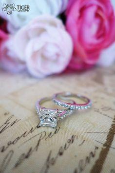 2 carat Princess SET Accented Eternity Band by TigerGemstones