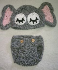 Elephant Baby Hat with Matching Diaper by CSlingerlandDesigns, $26.00