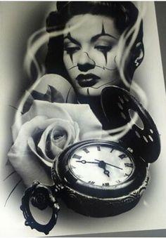 Close to the real time. Tattoo Studio, Chicanas Tattoo, Chicano Love, Catrina Tattoo, Chicano Drawings, Lowrider Art, Lowrider Tattoo, Cholo Art, Sugar Skull Girl