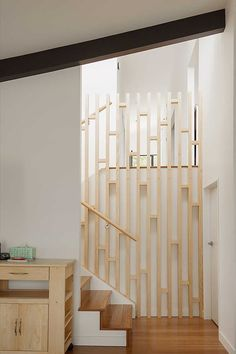 Neat stairwell feature to keep things from being too enclosed