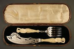 """Mermaid figural Ivory handled sterling presentation fish set, both pieces with pierced, engraved sterling blades finely decorated on both sides with mermaids, and inscribed """"Hon. Simon Cameron/From Frank S. Johnson"""" (Simon Cameron Served As Abraham Lincoln's Secretary Of War From 1861-1862, and later as U.S. Minister To Russia) - Sterling Silver Marked """"Henry Wilkinson & Co., Sheffield, England   c.1860"""