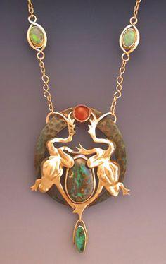Frog's Leap, by Karen Olsen Ramsey: 18K yellow gold. 22K gold, shakudo, Australian Yowah opal, boulder opal, Mexican opal, Lightning Ridge black opals, sapphire, emerald