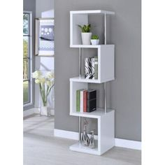 Shop Coaster Furniture White 4 Shelves Bookcase with great price, The Classy Home Furniture has the best selection of Bookcases to choose from Decor, Furniture, Interior, Wall Shelves Design, Home Furniture, Living Room Decor, Home Decor, Contemporary Bookcase, Home Decor Furniture