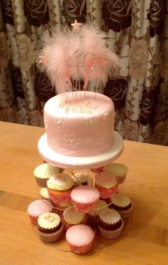 Brush Embodied Birthday Cake with matching Cupcakes.