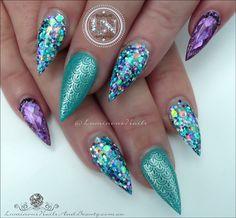 Atlantic Mermaid Nails... Sculptured Acrylic with Glitter heaven Atlantic Mermaid Glitter Mix, Young Nails Rainbow Purple, Pop Brigh...